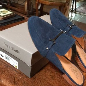 Blue suede flats with silver buckle!